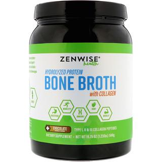 Zenwise Health, Hydrolyzed Protein Bone Broth with Collagen, Chocolate, 1.2 lbs (560 g)