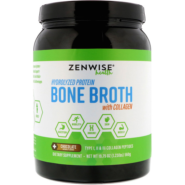 Zenwise Health, Hydrolyzed Protein Bone Broth with Collagen, Chocolate, 1.2 lbs (560 g) (Discontinued Item)