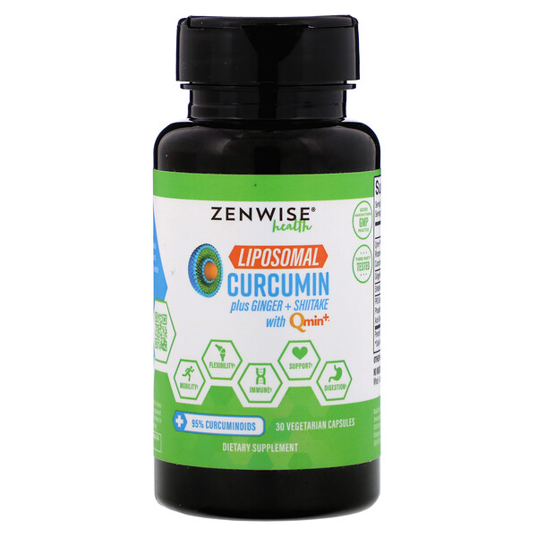 Zenwise Health, Liposomal Curcumin Plus Ginger + Shiitake with Qmin+, 30 Vegetarian Capsules (Discontinued Item)