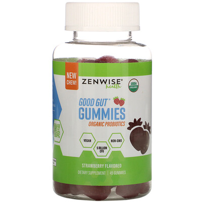 Zenwise Health Good Gut Gummies, Organic Probiotics, Strawberry, 45 Gummies