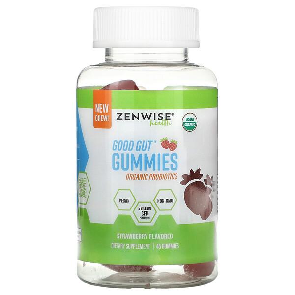Good Gut Gummies, Organic Probiotics, Strawberry, 45 Gummies