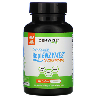 Zenwise Health Daily Pre-Meal, ReplENZYMES, Digestive Enzymes, 125 Vegetarian Capsules