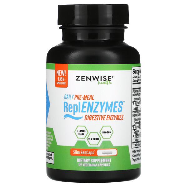 Zenwise Health, ReplENZYMES إنزيمات هضمية، للاستخدام اليومي قبل الوجبات، 125 كبسولة نباتية