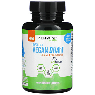 Zenwise Health, омега-3,6,9 и ДГК DHAhi для веганов, 60мягких таблеток