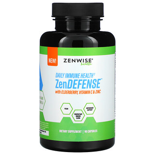 Zenwise Health, ZenDEFENSE with Elderberry, Vitamin C & Zinc, 90 Capsules