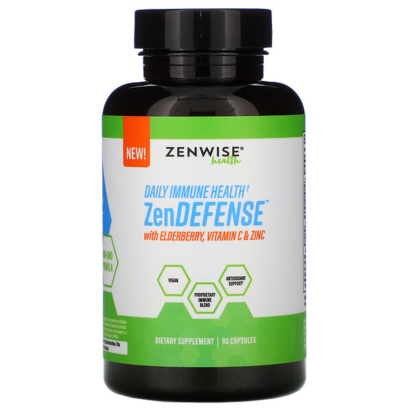 Zenwise Health, ZenDEFENSE with Elderberry, Vitamin C & Zinc, 90 Capsules