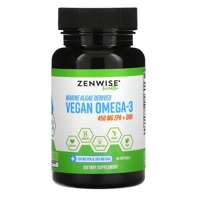 Купить Zenwise Health Marine Algae Derived Vegan Omega-3, 225 mg, 60 Softgels