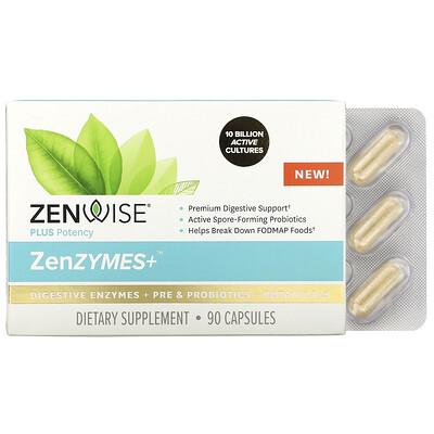 Zenwise Health ZenZYMES+, Digestive Enzymes + Pre & Probiotics + Botanicals, 90 Capsules