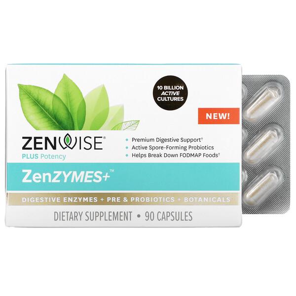 Zenwise Health, ZenZYMES+, Digestive Enzymes + Pre & Probiotics + Botanicals, 90 Capsules
