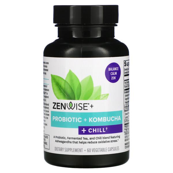 Zenwise Health, Probiotic + Kombucha + Chill, 60 Vegetable Capsules