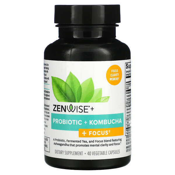 Zenwise Health, Probiotic + Kombucha + Focus,  40 Vegetable Capsules