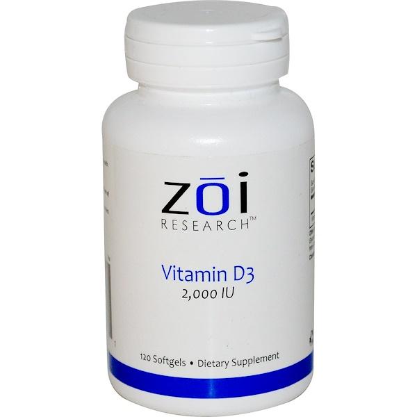 ZOI Research, Vitamin D3, 2,000 IU, 120 Softgels (Discontinued Item)