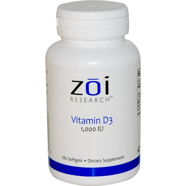 ZOI Research, Vitamin D3, 1,000 IU, 180 Softgels (Discontinued Item)