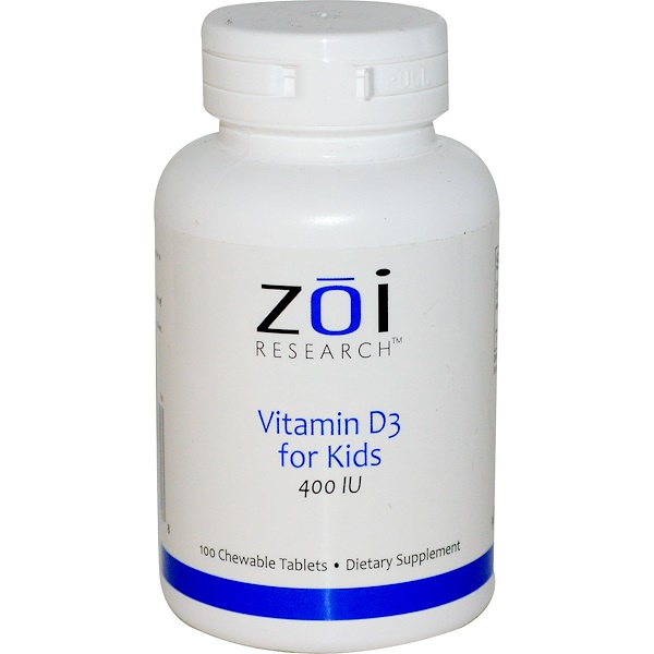 ZOI Research, Vitamin D3 for Kids, 400 IU, 100 Chewable Tablets (Discontinued Item)