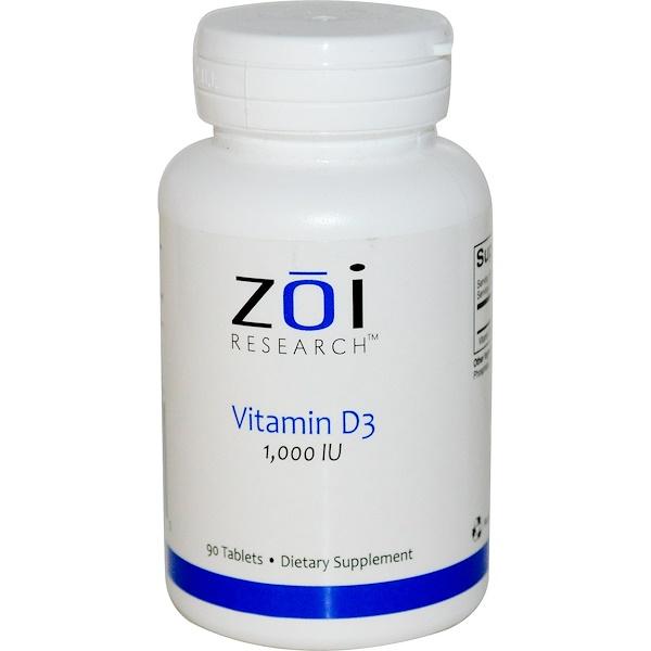 ZOI Research, Vitamin D3, 1,000 IU, 90 Tablets (Discontinued Item)