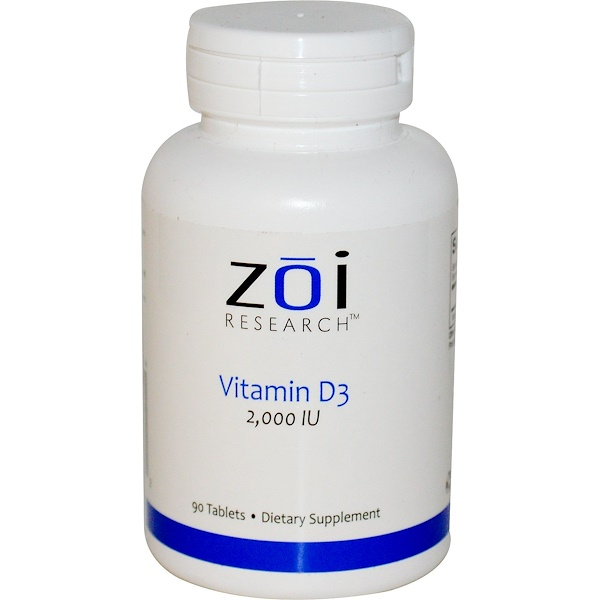 ZOI Research, Vitamin D3, 2,000 IU, 90 Tablets (Discontinued Item)
