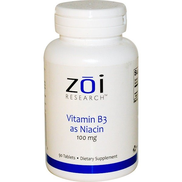 ZOI Research, Vitamin B3 as Niacin, 100 mg, 90 Tablets (Discontinued Item)