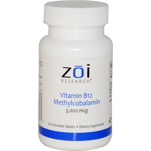 ZOI Research, Vitamin B12, Methylcobalamin, 5,000 mcg, 60 Chewable Tablets (Discontinued Item)