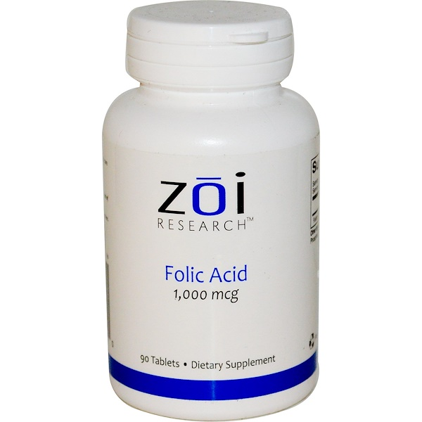 ZOI Research, Folic Acid, 1,000 mcg, 90 Tablets (Discontinued Item)