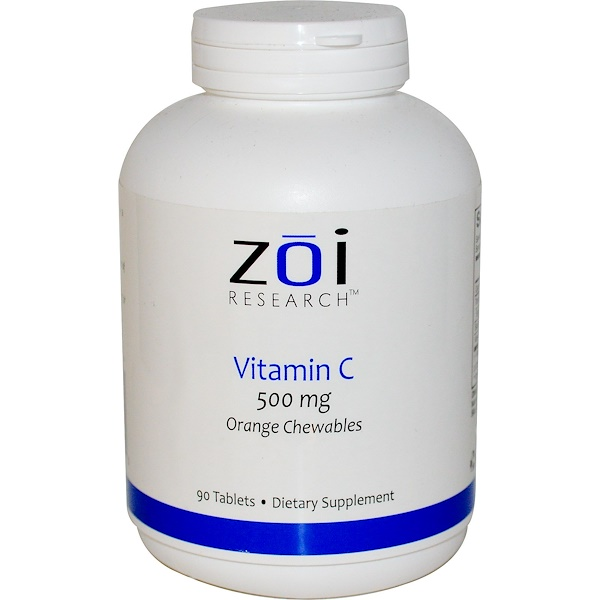 ZOI Research, Витамин С, жевательные таблетки со вкусом апельсина, 500мг, 90таблеток (Discontinued Item)