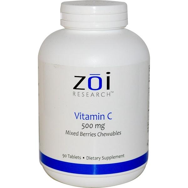 ZOI Research, Витамин С, жевательные таблетки со вкусом смеси ягод, 500мг, 90таблеток (Discontinued Item)