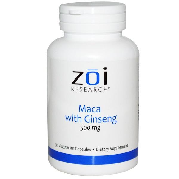 ZOI Research, マカ ジンセン入り、500mg、30ベジキャップ (Discontinued Item)