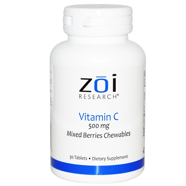 ZOI Research, Vitamin C, Mixed Berries Chewables, 500 mg, 30 Tablets (Discontinued Item)