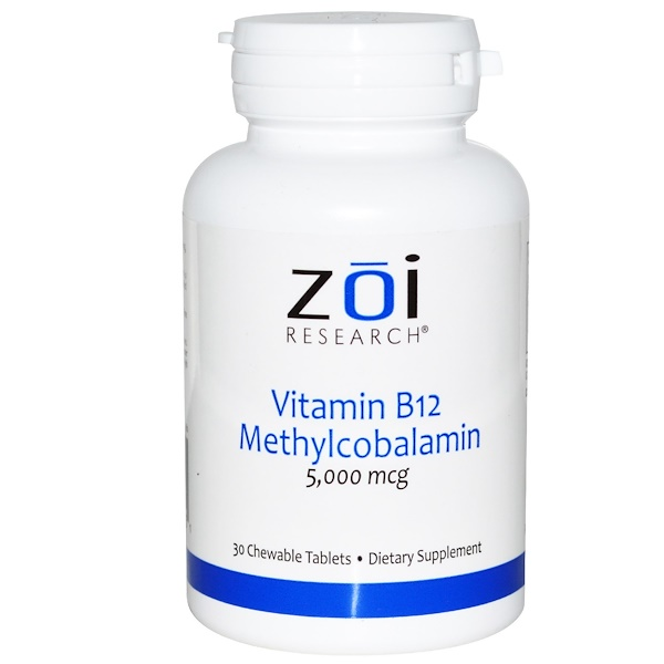 ZOI Research, Vitamin B12 Methylcobalamin, 5,000 mcg, 30 Chewable Tablets (Discontinued Item)
