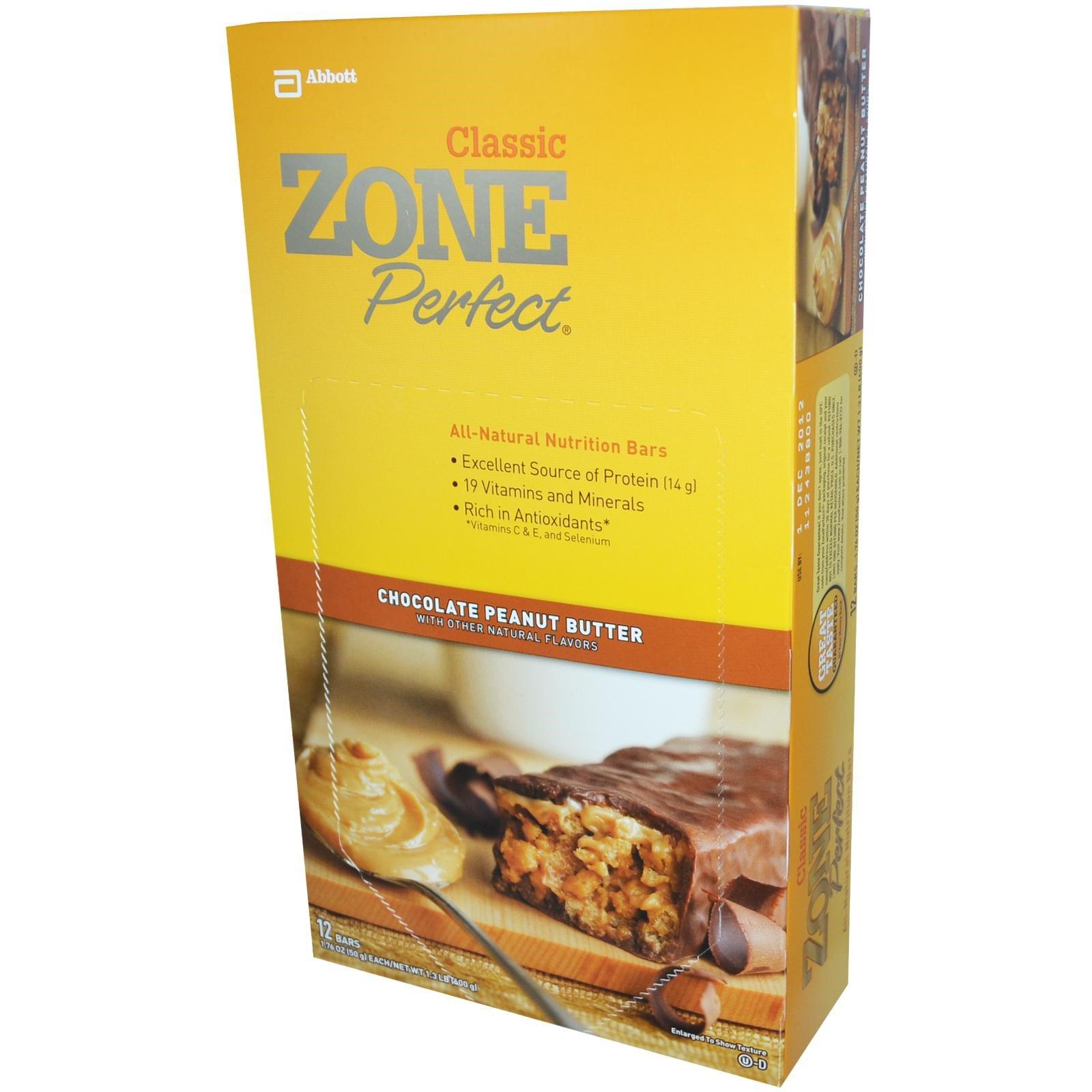 ZonePerfect, Классические полностью натуральные питательные батончики, шоколадно-арахисовое масло, 12 батончиков, 1,76 унции (50 г) каждый