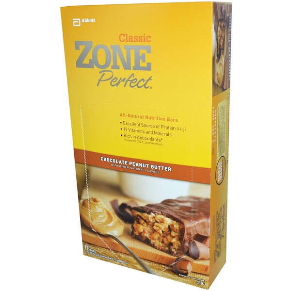 ZonePerfect, Classic, All-Natural Nutrition Bars, Chocolate Peanut Butter, 12 Bars, 1.76 oz (50 g) Each (Discontinued Item)