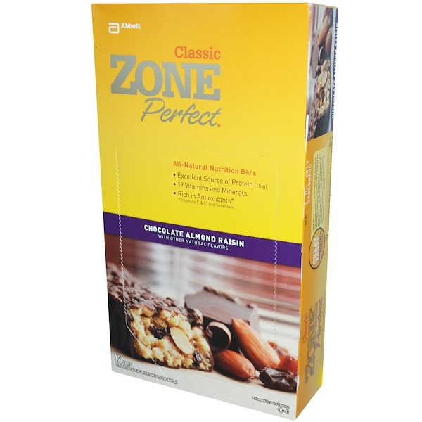 ZonePerfect, Classic, All-Natural Nutrition Bars, Chocolate Almond Raisin, 12 Bars, 1.76 oz (50 g) Each