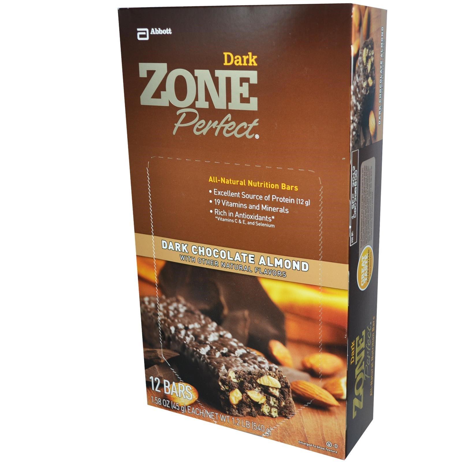 ZonePerfect, Темные, полностью натуральные питательные батончики, темный шоколад и миндаль, 12 батончиков, по 1,58 унции (45 г) каждый