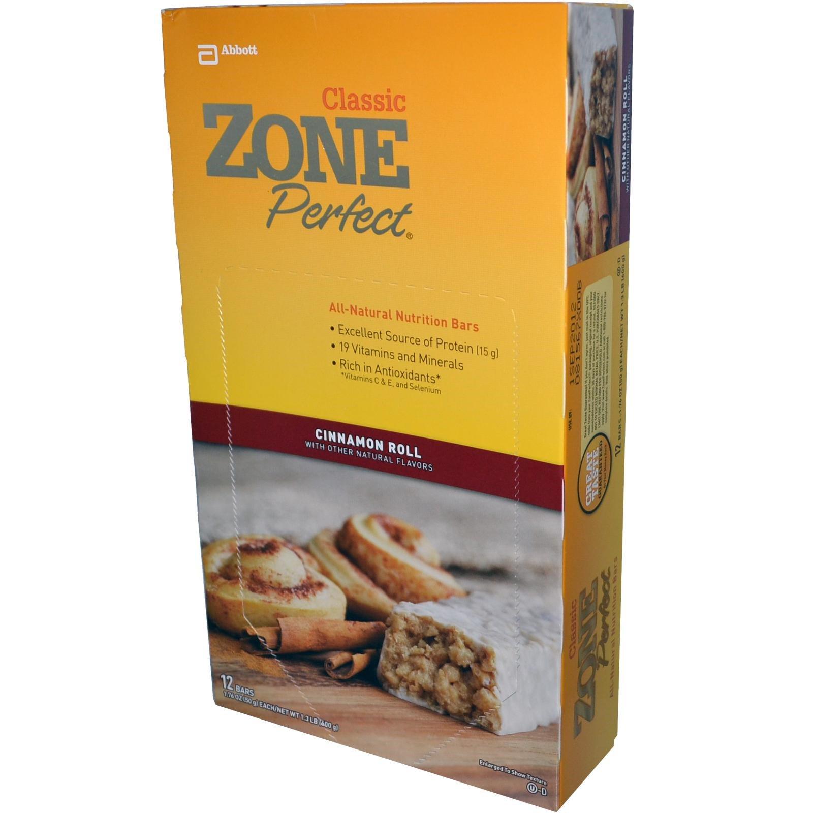 ZonePerfect, Классические полностью натуральные питательные батончики, булочка с корицей, 12 батончиков, 1,76 унции (50 г) каждый