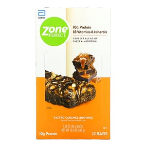 ZonePerfect, Nutritional Bars, Salted Caramel Brownie, 12 Bars, 1.58 oz (45 g) Each
