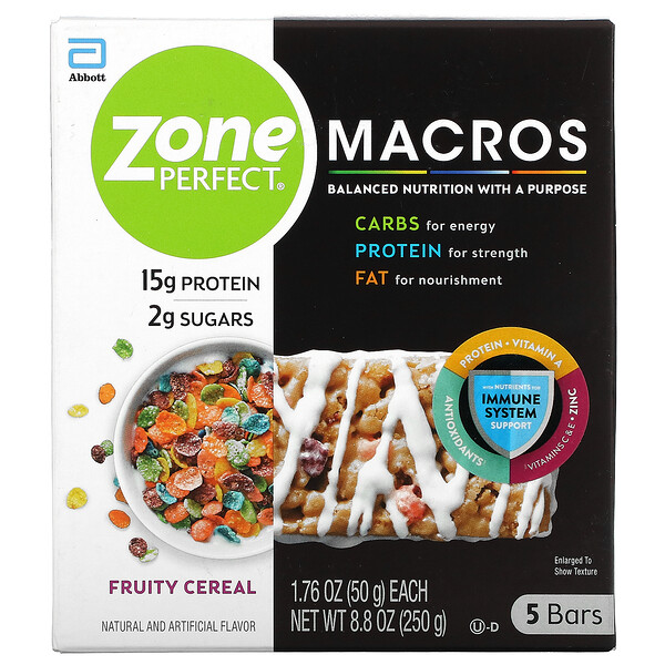 ZonePerfect, MACROS Bars, Fruity Cereal,  5 Bars, 1.76 oz (50 g) Each