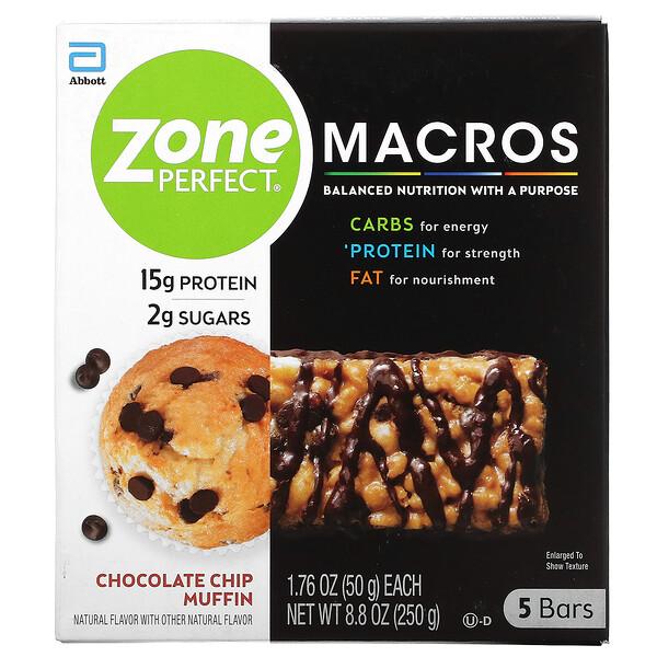 MACROS Bars, Chocolate Chip Muffin,  5 Bars, 1.76 oz (50 g) Each