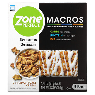 ZonePerfect, MACROS Bars, Cinnamon Toast Cereal, 5 Bars, 1.76 oz (50 g) Each
