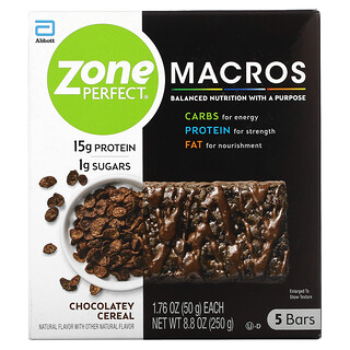 ZonePerfect, MACROS Bars, Chocolatey Cereal, 5 Bars, 1.76 oz (50 g) Each