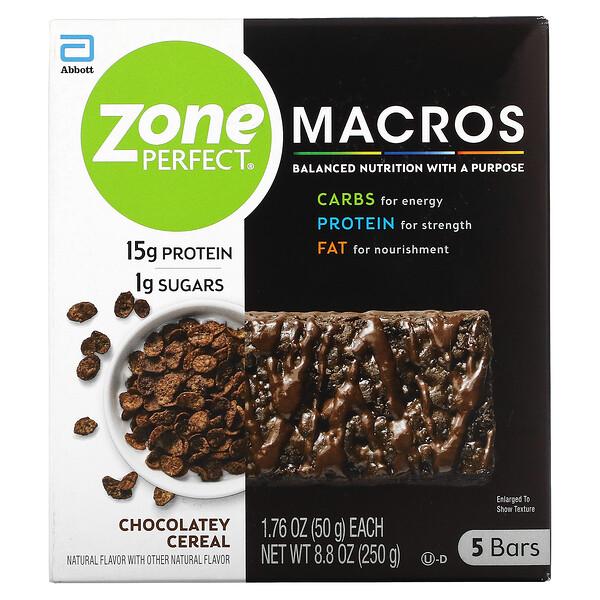 MACROS Bars, Chocolatey Cereal, 5 Bars, 1.76 oz (50 g) Each