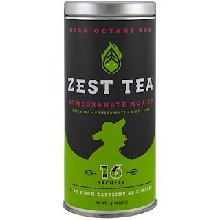 Zest Tea LLZ, High Octane Tea, Pomegranate Mojito, 16 Sachets, 1.41 oz (40 g)
