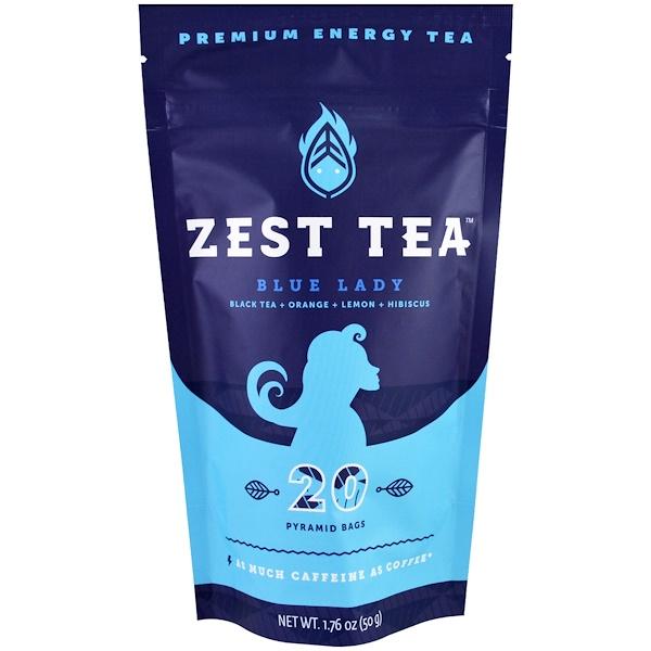 Zest Tea LLZ, 優質能量茶,藍色女士,20包,1、76盎司(50克)