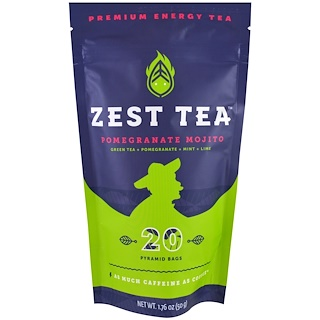 Zest Tea LLZ, Premium Energy Tea, Pomegranate Mojito, 20 Pyramid Bags, 1.76 oz (50 g)
