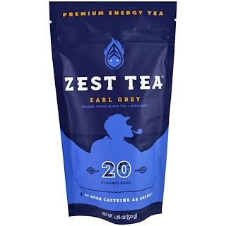 Zest Tea LLZ, Premium Energy Tea, Earl Grey, 20 Pyramid Bags, 1.76 oz (50 g)