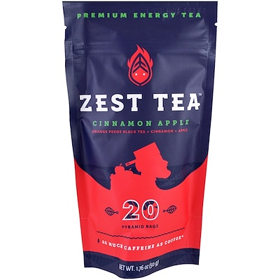 Zest Tea LLZ Premium Energy Tea, Cinnamon Apple, 20 Pyramid Bags, 1.76 oz (50 g) Each