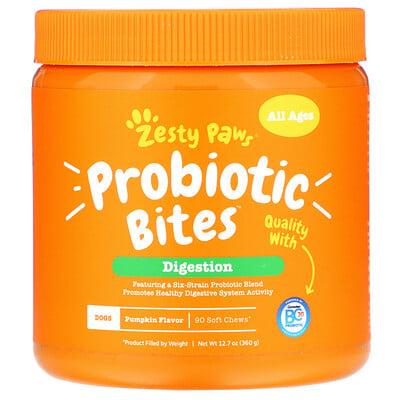 Probiotic Bites, добавка для собак с пробиотиками, для пищеварения, для любого возраста, со вкусом тыквы, 90мягких жевательных таблеток недорого