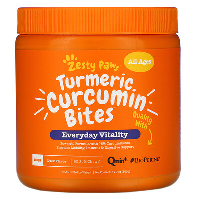 Zesty Paws Turmeric, Curcumin Bites For Dogs, All Ages, Duck Flavor, 90 Soft Chews