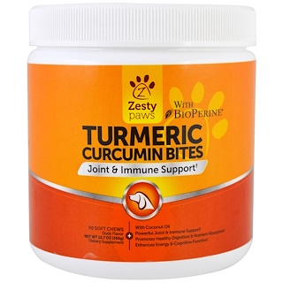 Zesty Paws, Turmeric, Curcumin Bites For Dogs, Joint & Immune Support, Duck Flavor, 90 Soft Chews