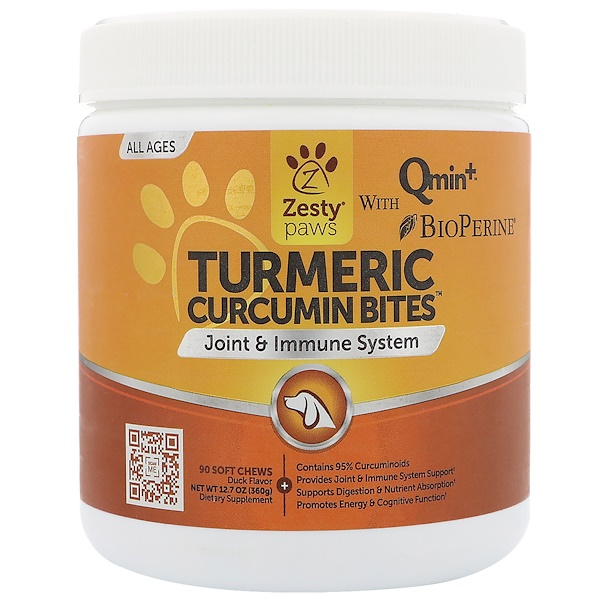 Zesty Paws, Turmeric, Curcumin Bites For Dogs, Joint & Immune Support, All Ages, Duck Flavor, 90 Soft Chews