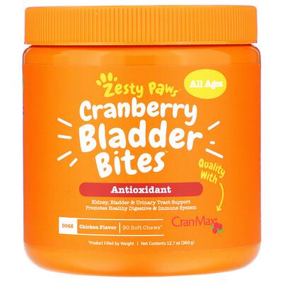 Купить Zesty Paws Cranberry Bladder Bites, добавка для собак с антиоксидантами, для любого возраста, со вкусом курицы, 90мягких жевательных таблеток, 360г (12, 7унции)
