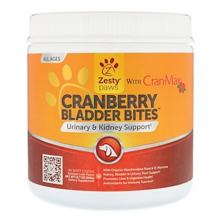 Zesty Paws, Cranberry Bladder Bites for Dogs, Urinary & Kidney Support, All Ages, Chicken Liver Flavor, 90 Soft Chews